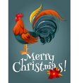 Christmas and New Year card with fire red rooster vector image