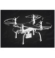 3d quadcopter model on a black vector image vector image