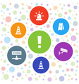 7 attention icons vector image vector image
