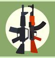 ak47 icon and m16 icon machine gun black vector image vector image