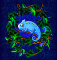 blue cartoon style smiling chameleon vector image vector image