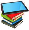 book stack and blue screen tablet pc vector image vector image
