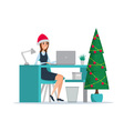Business woman sitting at the table New Year Tree vector image vector image