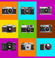 camera sett retro photo cameras on colored vector image
