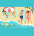 characters relax under sun umbrellas on sea coast vector image vector image