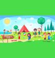 children s camp poster depicing kids having fun vector image vector image