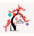 chinese new year blossom tree 2018 background vector image vector image