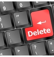 Computer keyboard - Red key Delete business vector image vector image