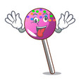 crazy lollipop with sprinkles mascot cartoon vector image vector image