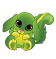 cute animated cartoon animal green color isolated vector image vector image