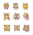 Cute hand drawn owl vector image vector image