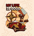cute vintage sticker with car with map vector image