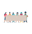 diverse woman friend group holding empty banner vector image vector image