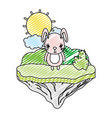 doodle cute female rabbit in the float island vector image vector image