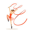 female gymnast exercising rhythmic gymnastics with vector image