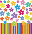 Flowers on colorful stripe background vector image vector image