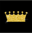 gold crown on black vector image vector image
