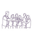group of sketch people cheers glasses doodle men vector image