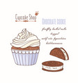 hand drawn cupcake chocolate cookie flavor vector image vector image