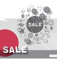 Hand drawn sale icons with icons background vector image vector image