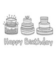 hand drawn set birthday elements big celebration vector image vector image