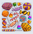 hand drawn set of halloween candies collection vector image