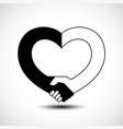 handshake in the form of heart handshake sympathy vector image vector image