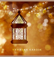 hanging illuminated arabic lamp lantern with vector image vector image