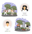 happy active people riding bicycle jogging vector image vector image