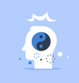 head and yin yang sign mental harmony vector image