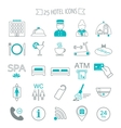 Hotel services icons Modern line icons Flat vector image