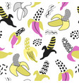 memphis seamless pattern with banana abstract vector image