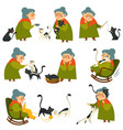 old woman playing with cat pet elderly lady set vector image vector image