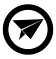 paper airplane icon black color in circle vector image vector image