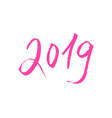 pink 2019 new year lettering isloated vector image