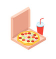pizza and soft drink isometric flat design style vector image vector image