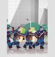 policemen with shields and batons riot police vector image vector image