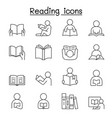 reading icons set in thin line style vector image vector image