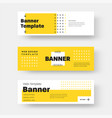 rectangular horizontal web banner with yellow and vector image vector image