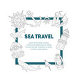 sea travel banner template vintage hand drawn vector image vector image