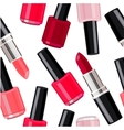 Seamless pattern - lipsticks and nail varnishes vector image