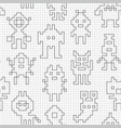 seamless pattern with empty pixel robots vector image vector image