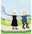 Senior couple walking in sunny day vector image