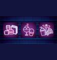 set of fast food neon light label vector image
