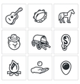 Set of Gypsy Camp Icons Guitar Tambourine vector image vector image