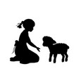 silhouette girl sitting knees beckon lamb vector image