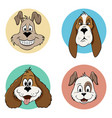 some cartoon dog avatar icons vector image vector image