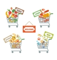 Supermarket Cart With Food vector image
