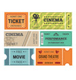 theater and cinema tickets admission or paper pass vector image