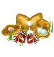 Three Gold shells with pearls and crabs vector image vector image